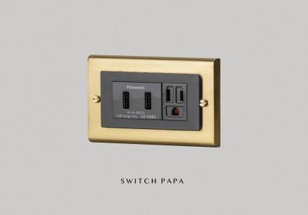 鋅合金銅金Glatima WTGF雙槽USB加附接地雙插座