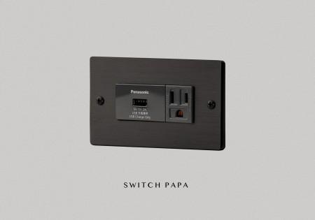 鋁合金陽極拉絲黑單槽USB加附接地插座(國際牌)