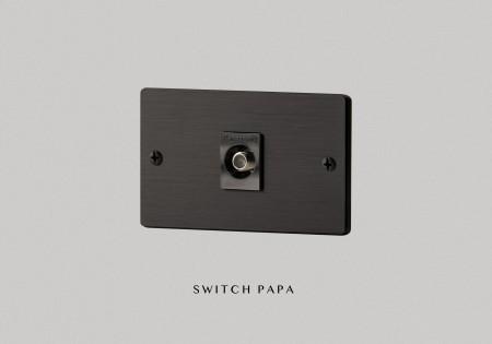 鋁合金陽極拉絲黑弱電單電視插座(國際牌)