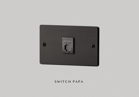 鋁合金陽極拉絲黑弱電單網路插座(國際牌)