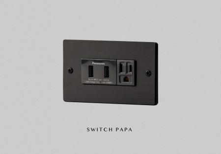 鋁合金陽極拉絲黑雙槽USB加附接地插座(國際牌)