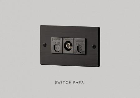 鋁合金陽極拉絲黑弱電網路電話電視插座(國際牌)