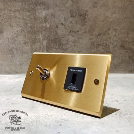 黃銅面板復古開關1開1USB插座(快速型)