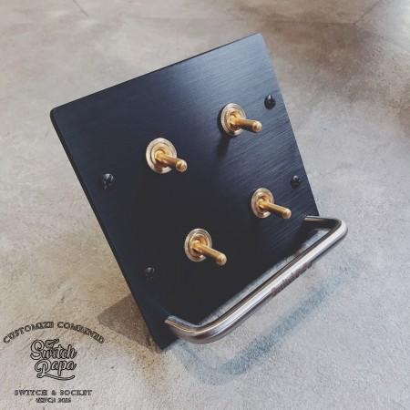 霧黑拉絲黑面板二聯掛式復古黃銅4開