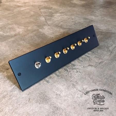 鋁合金消光霧黑面板 (290x70x5mm)復古黃銅7切