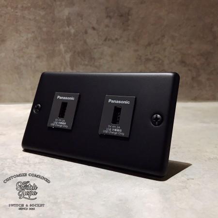 消光霧黑面板2USB插座(快速型)合計4A