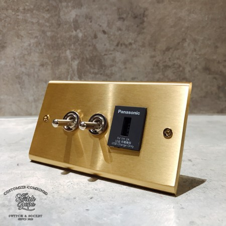 黃銅面板復古開關2開1USB插座(快速型)