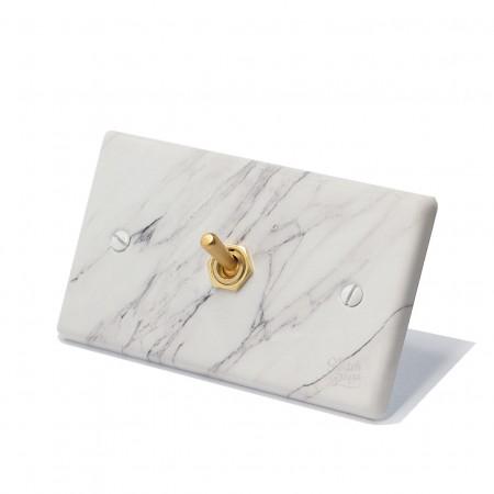 大理石紋面板復古黃銅搖頭開關1開