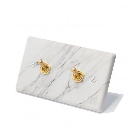 大理石紋面板復古黃銅搖頭開關2開
