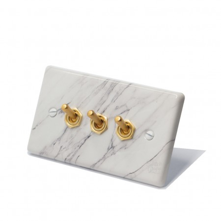 大理石紋面板復古黃銅搖頭開關3開