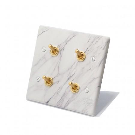 大理石紋面板復古黃銅搖頭開關4開