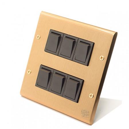 黃銅面板日式方形指撥5開