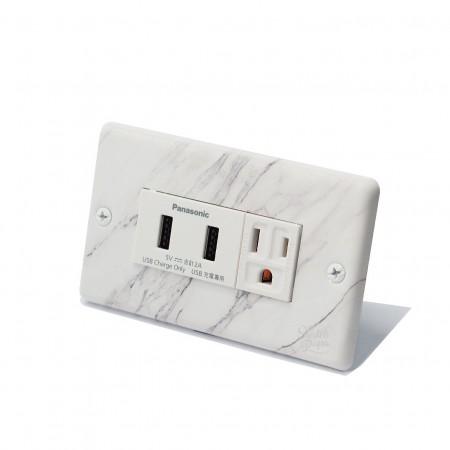 大理石紋埋入式雙槽USB加插座