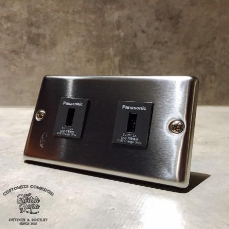 國際牌不鏽鋼面板2USB插座(快速型)合計4A
