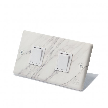 大理石紋日式方形指撥開關2開