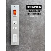 鋁合金陽極拉絲銀1緊急壓+附街地雙插座+3日式開關