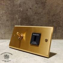 黃銅面板黃銅復古開關1開1USB插座(快速型)