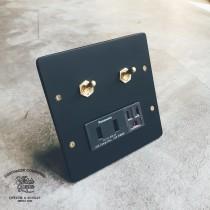 消光霧黑二聯復古黃銅2開雙槽USB加插座
