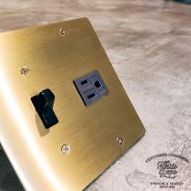 黃銅二聯美式指撥單路1開附接地單插
