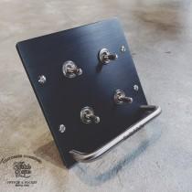 霧黑拉絲黑面板二聯掛式復古4開