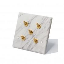 大理石紋面板復古黃銅搖頭開關5開