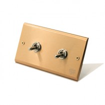 黃銅面板復古搖頭開關2開