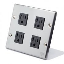 國際牌不鏽鋼方形附接地插座4插
