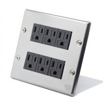 國際牌不鏽鋼方形附接地插座6插