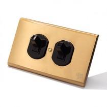 黃銅面板美式圓形單路雙開
