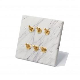 大理石紋面板復古黃銅搖頭開關6開